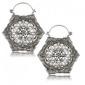 ''Lotus fleur de Vie Pali'' white brass earrings