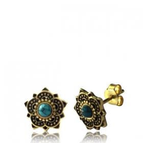"\""Enakshi Turquoise\"" Brass earrings"