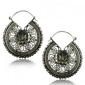 "\""Lotus Mandala Pali\"" White brass earrings"
