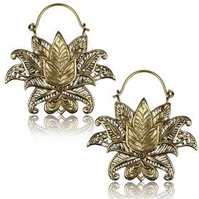 "\""Lotus Nilam\"" Brass earrings"