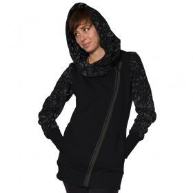 \'\'Calico\'\' zipped hoodie, Black