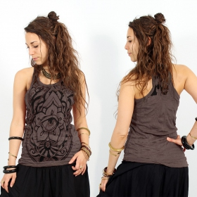 \\\'\\\'Eyed Fatma hand\\\'\\\' sleeveless top, Dark purple