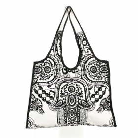 \\\'\\\'Fatma hand\\\'\\\' carrier bag, Black and white