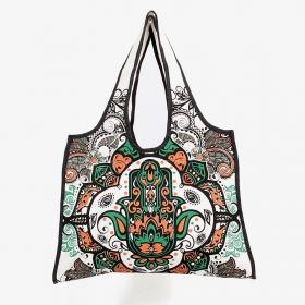 \\\'\\\'Fatma hand\\\'\\\' carrier bag, White, green and ocher