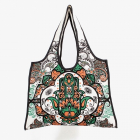 \\\'\\\'Fatma hand\\\'\\\' carrier bag, White, green and ocher