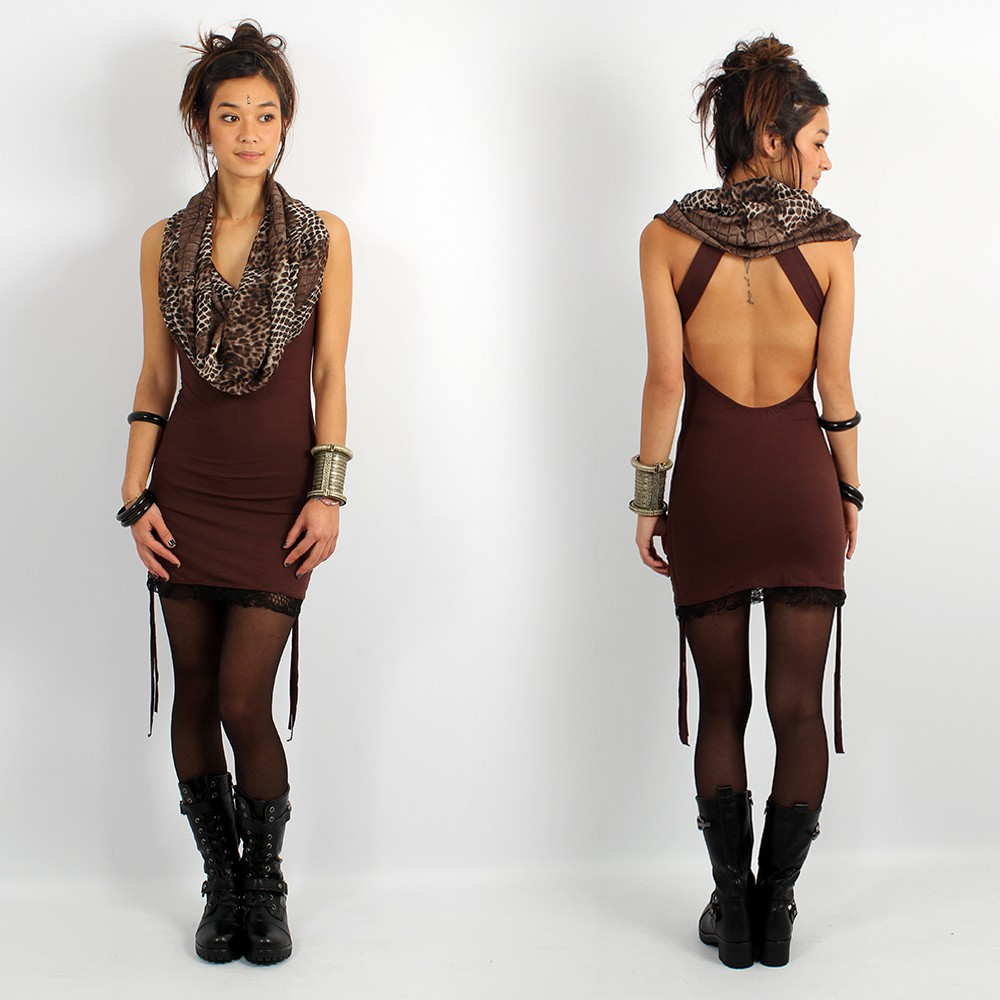 \\\'\\\'Feline\\\'\\\' dress, Brown