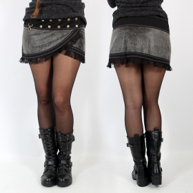 "\""Funky wrap\\\"" Skirt, Fake leather black and grey"