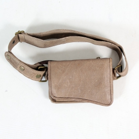 \\\'\\\'Goa\\\'\\\' Light grey leather moneybelt