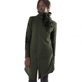\'\'Ink Code\'\' long sweatshirt, Mottled olive