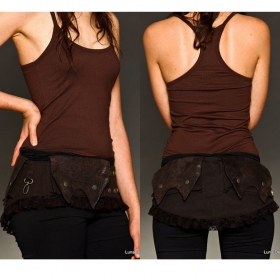 \\\'\\\'Lace up\\\'\\\' Pocket belt, Brown fake leather