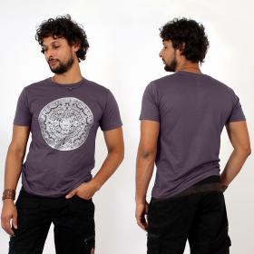 \\\'\\\'Mayan calendar\\\'\\\' t-shirt, Purple and silver
