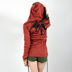 \\\'\\\'Octopus\\\'\\\' hooded top, Dark red