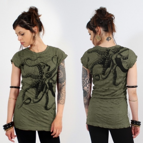 \\\'\\\'Octopus\\\'\\\' long top, Khaki