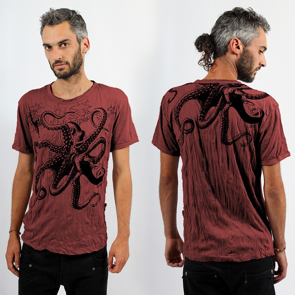 \\\'\\\'Octopus\\\'\\\' t-shirt Dark Red