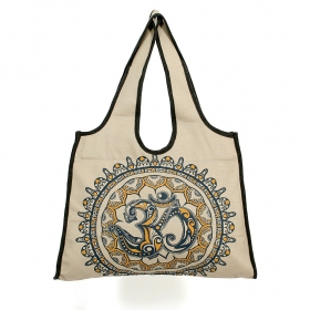 \\\'\\\'Ohm Mandala\\\'\\\' carrier bag, Beige, blue and yellow