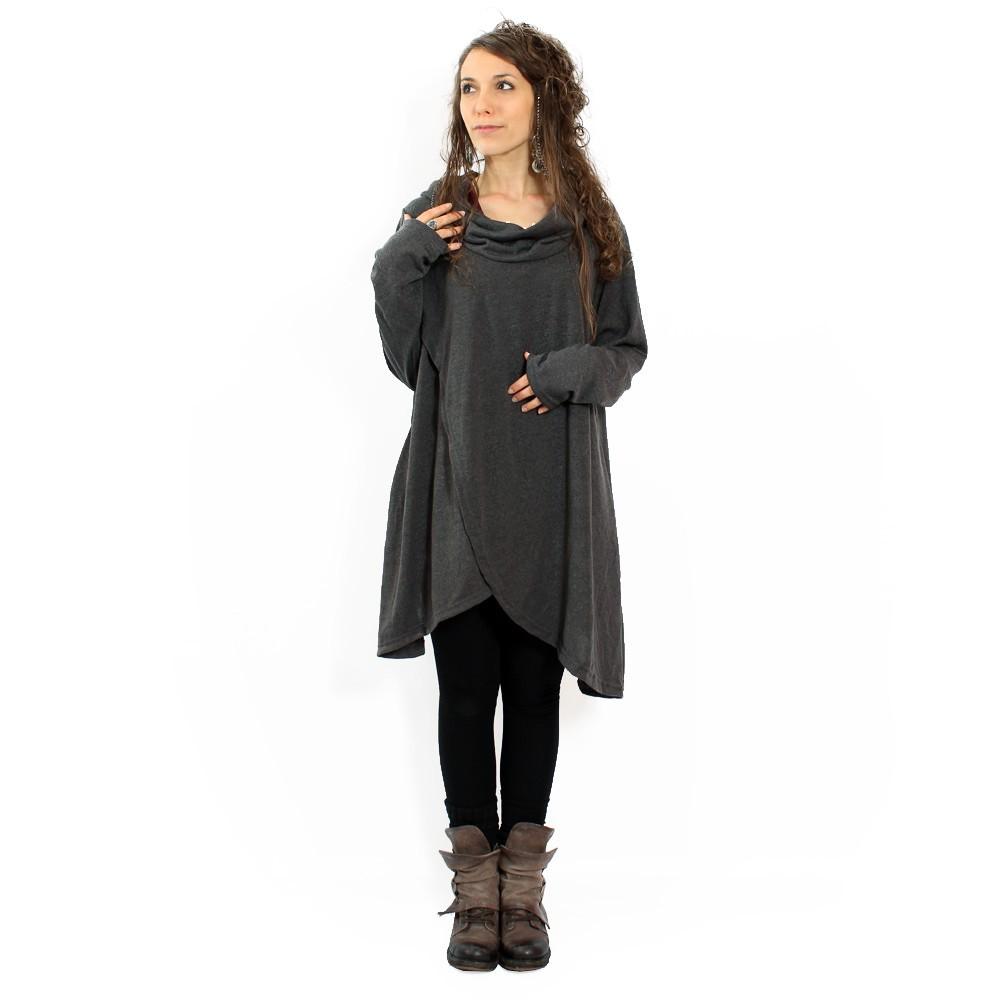 """Inika"" poncho pullover, Dark grey"