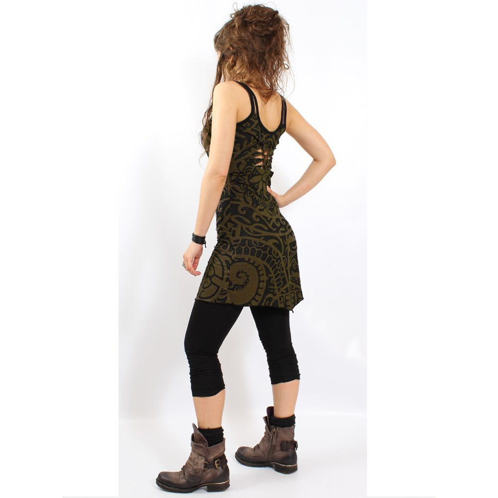 """Electra Polynesian"" dress, Khaki green"
