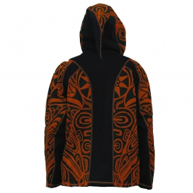 """Skywalker Haida"" pointy hooded jacket, Orange and black"