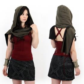 """Zakia"" reversible hooded scarf, Kaki black"