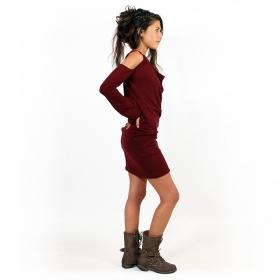 """Elixir"" bare shoulder sweater dress, Wine"