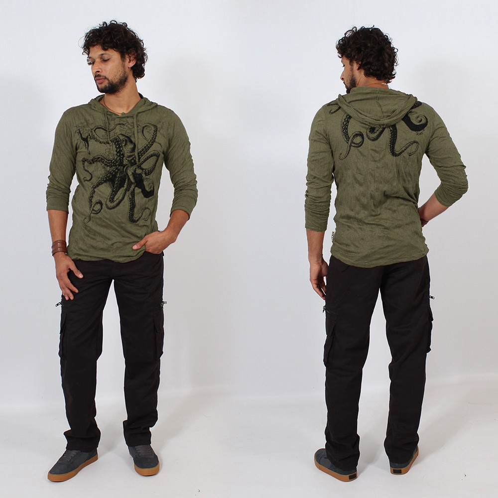 """Octopus"" hooded t-shirt, Khaki green"