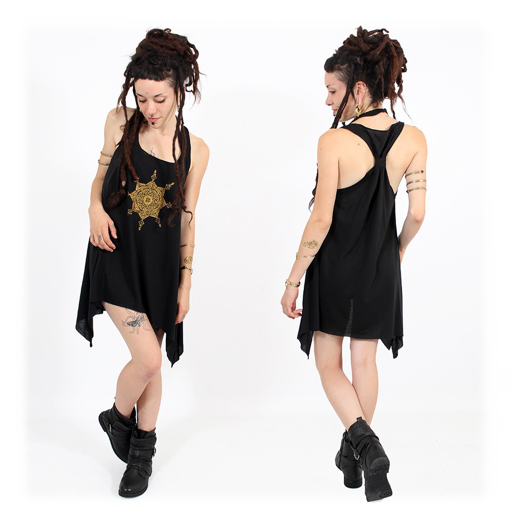 """Toonz mandala"" knotted tunic, Black and gold"