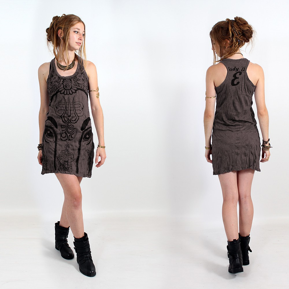 """Ganesh Eye"" dress, Taupe"
