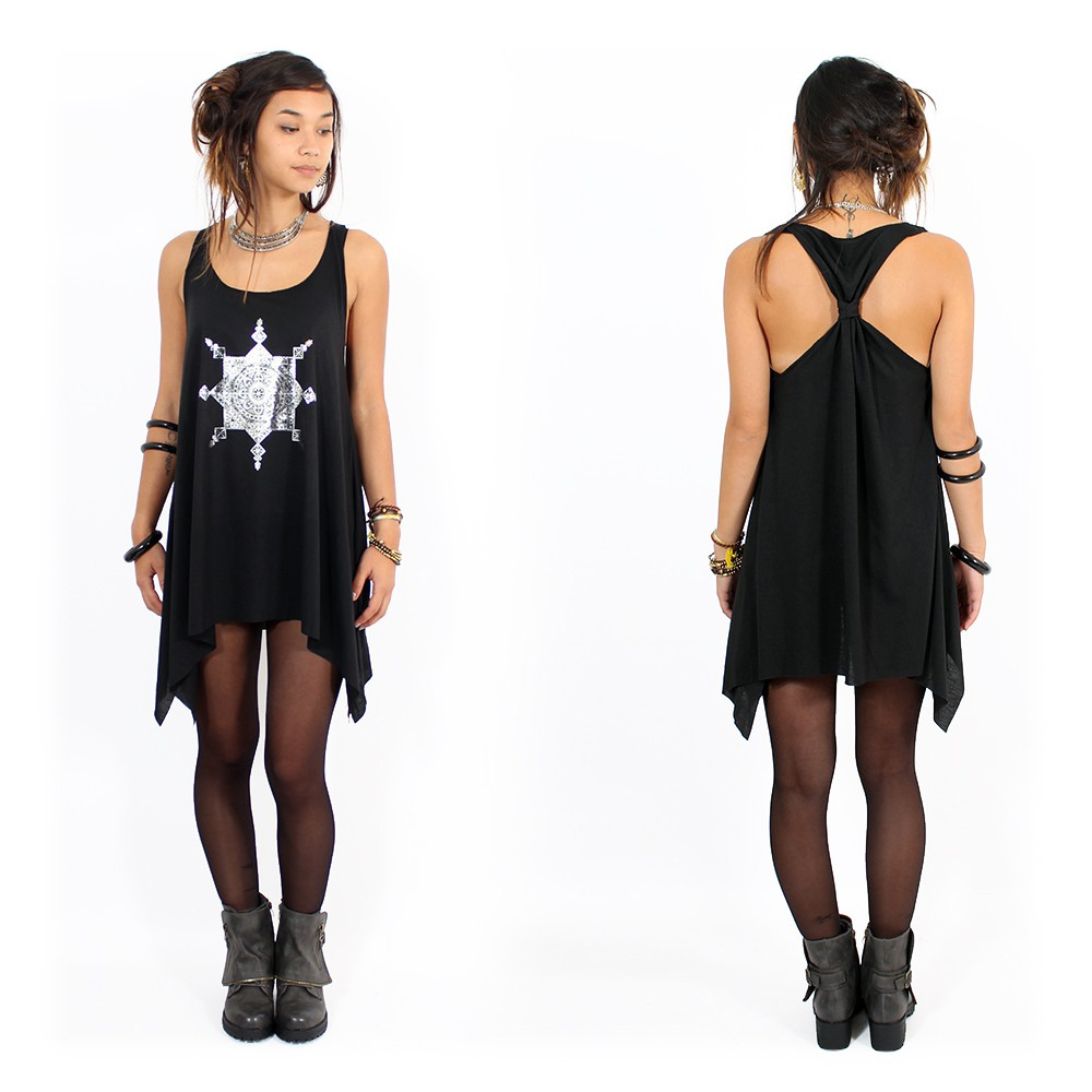 """""""Toonz Mandala"""" knotted tunic, Black and silver"""