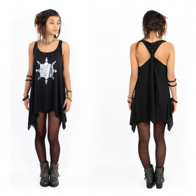 """Toonz Mandala"" knotted tunic, Black and silver"
