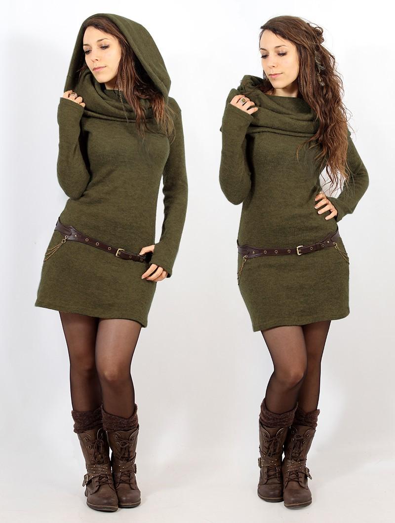 """Mantra"" sweater dress, Army green"