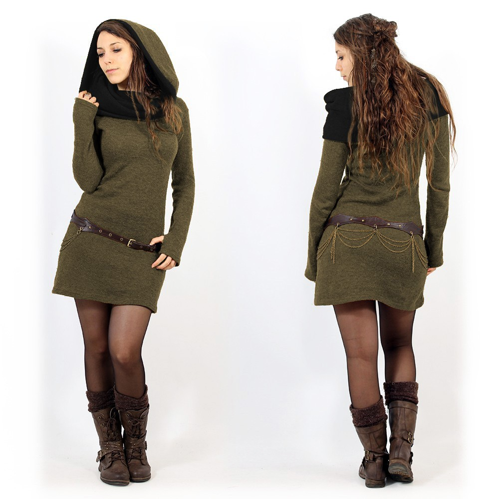 """""""Mantra"""" sweater dress, Army green and black"""