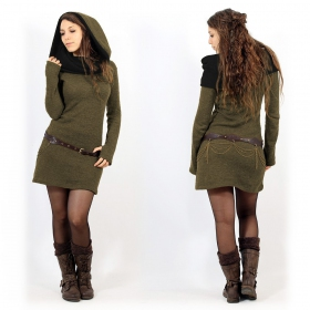 """Mantra"" sweater dress, Khaki and black"