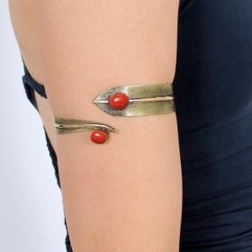 """Dahlia Feather"" bracelet red stone"