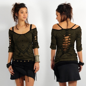 """Sedna Africa"" top, Khaki green"