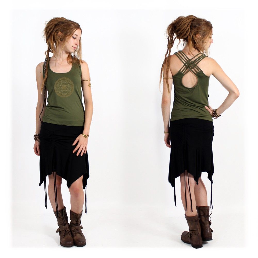 """Sacred Geometry"" top, Khaki"