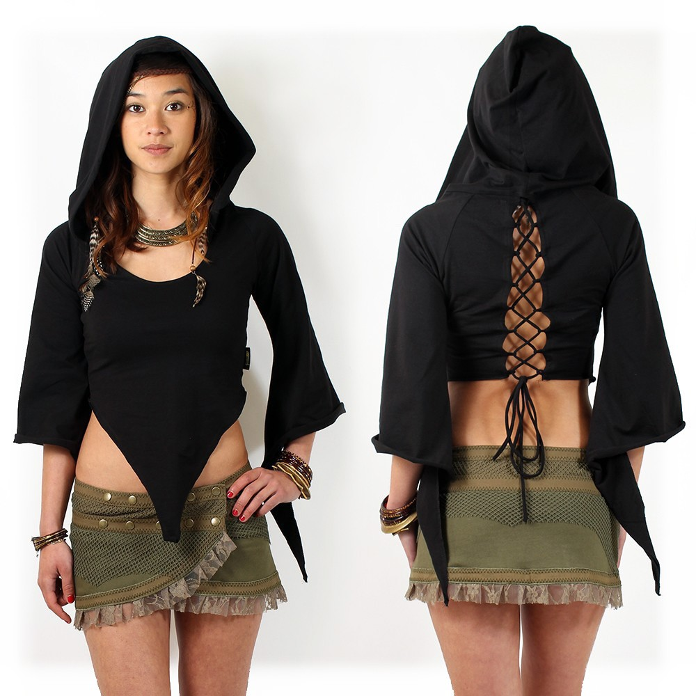 """Tribal Karma"" top, Black"