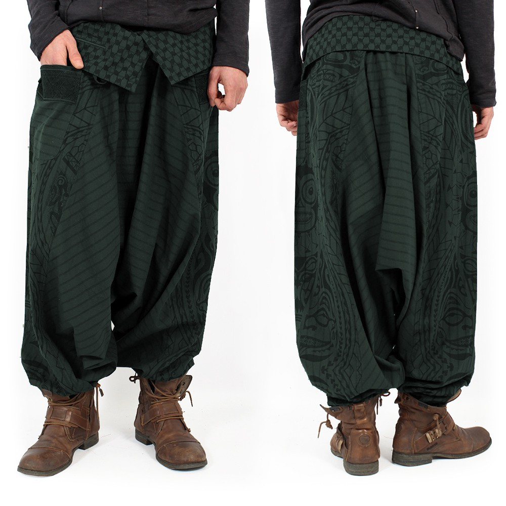"""Necka"" Gender neutral harem pants, Forest green"