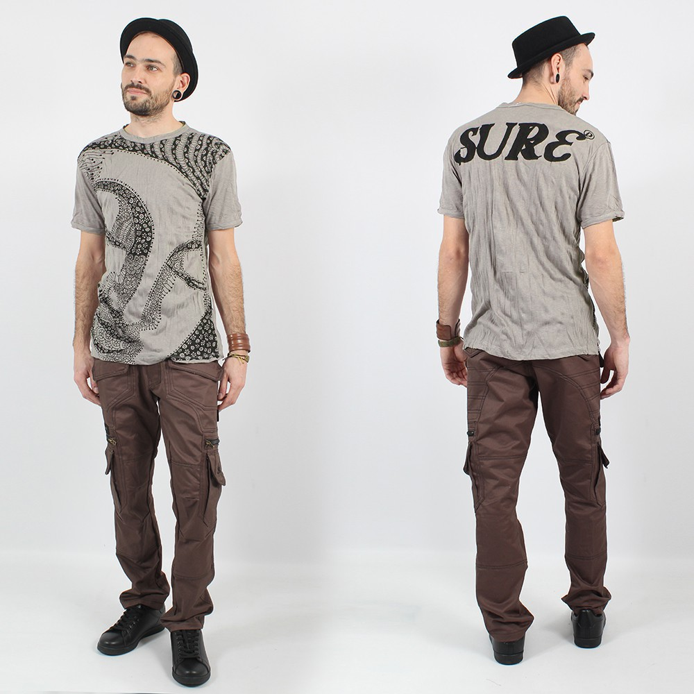 """Bouddha Ornement"" t-shirt, Grey beige"