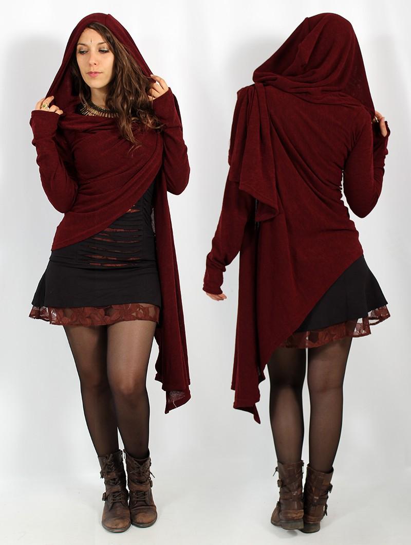 """Danaeriz"" long sleeve shawl, Wine"