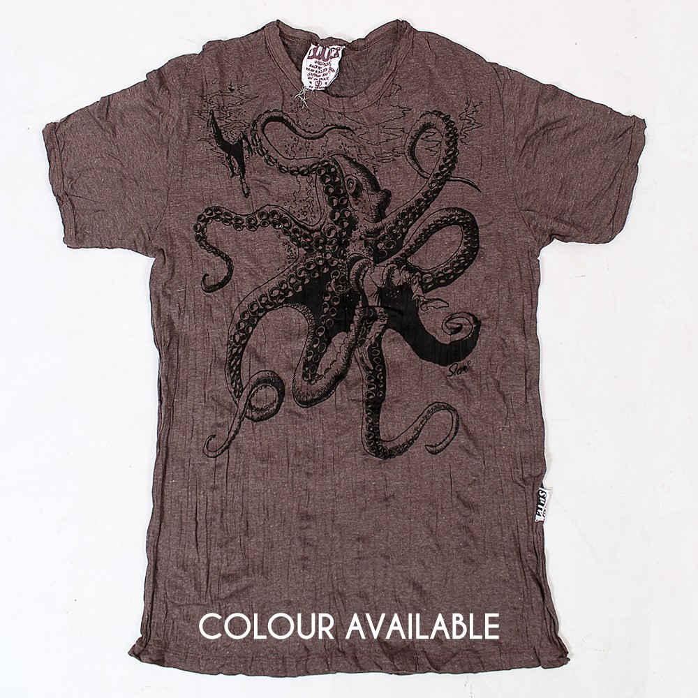 """Octopus"" T-shirt, Brown"