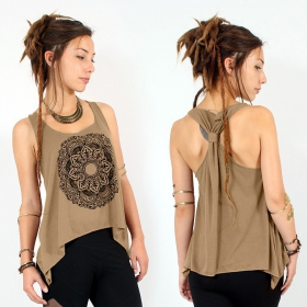 """""""Mandala"""" knotted tank top, Brown and black"""