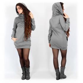 """""""Lotus"""" hoodie, Mottled grey"""