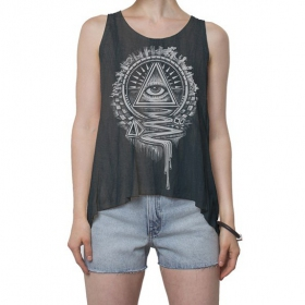 """Unliminati"" tank top, Dark grey wash"