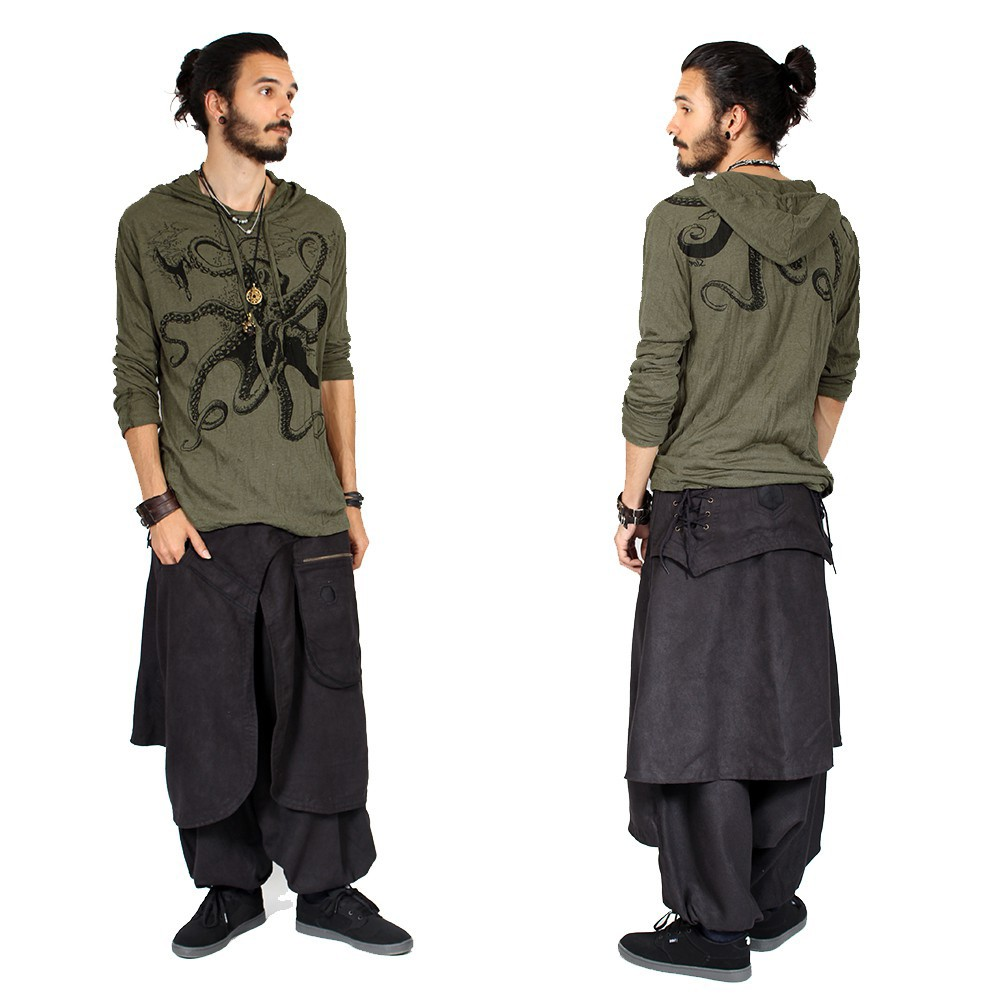 """Octopus"" hooded t-shirt, Army green"