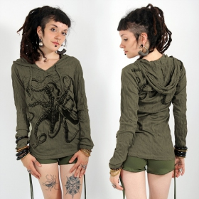"""Octopus"" hooded top, Khaki green"