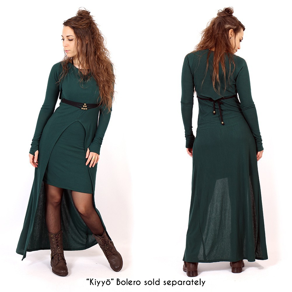 """Azeälya"" long dress, Peacock teal"