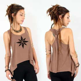 """Geometric leaves"" knotted tank top, Brown and black"