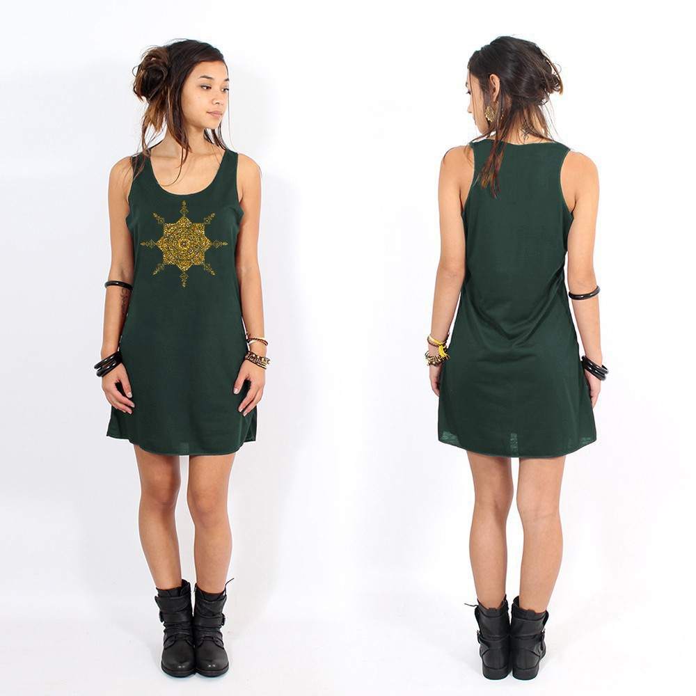 """Toonz Mandala"" dress, Teal and gold"