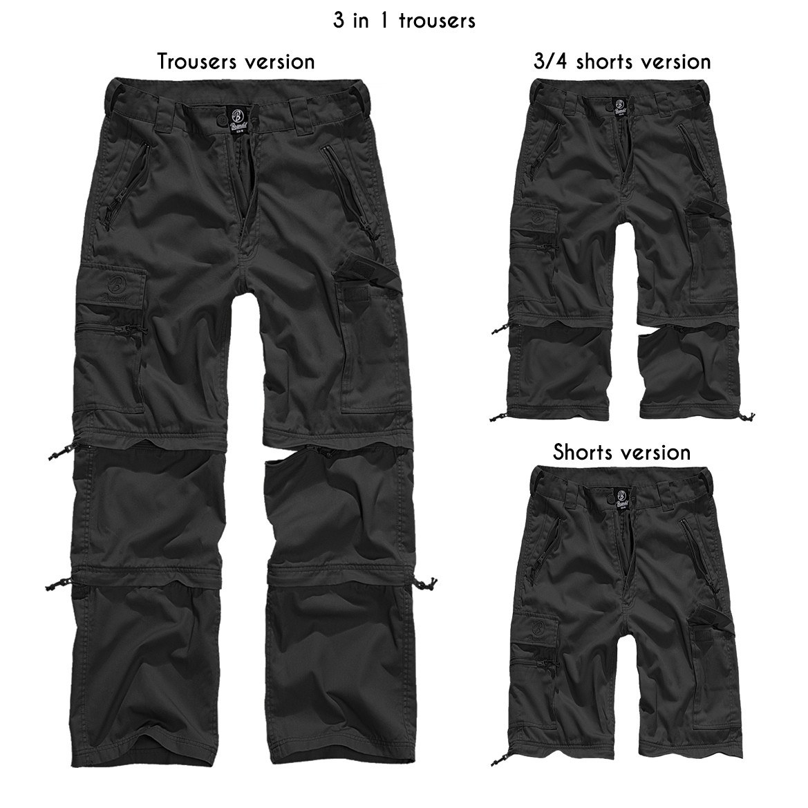 """Savannah Cargo"" 3in1 combat trousers, Black"