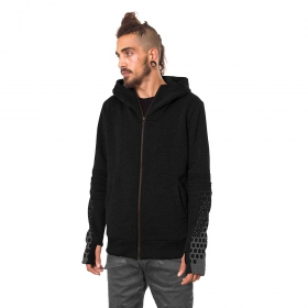 """Saito"" zipped hoodie, Black"